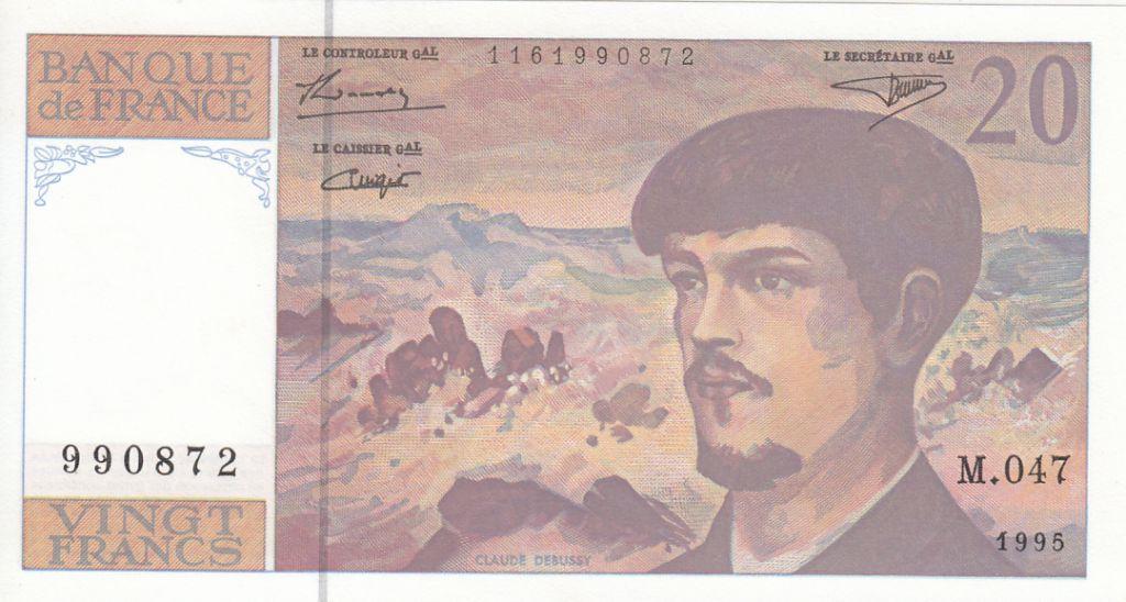 France 20 Francs Debussy - 1995 - Série M.047