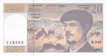 France 20 Francs Debussy - 1995 Serial E.048 - AU+