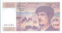 France 20 Francs Debussy - 1995 Serial G.48