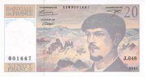 France 20 Francs Debussy - 1995 Serial J.048 - aUNC