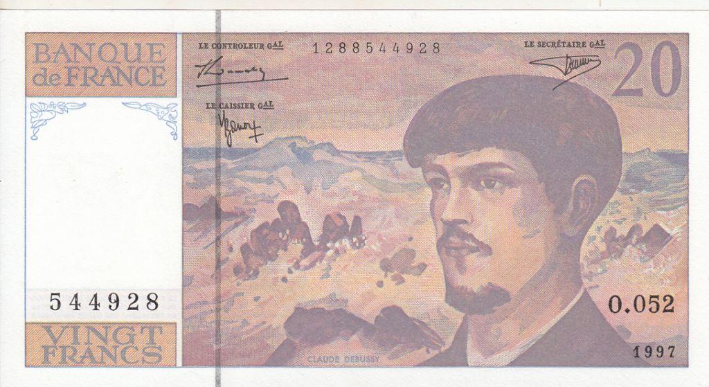 France 20 Francs Debussy - 1997 - Série O.052