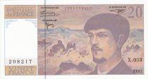 France 20 Francs Debussy - 1997 - Série X.053