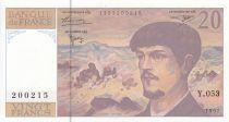 France 20 Francs Debussy - 1997 - Série Y.053