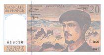 France 20 Francs Debussy - 1997 Serial B.058 - AU+