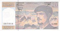 France 20 Francs Debussy - 1997 Serial E.050 - AU+