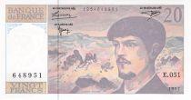 France 20 Francs Debussy - 1997 Serial E.051 - aUNC