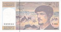 France 20 Francs Debussy - 1997 Serial F.051 - aUNC