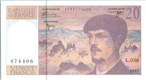 France 20 Francs Debussy - 1997 Serial L.058