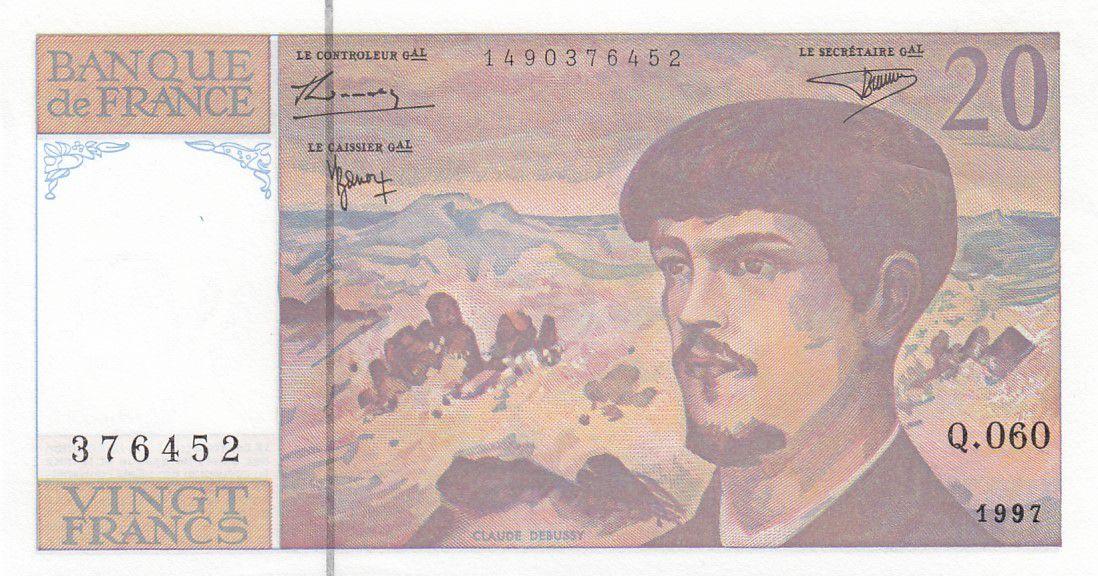 France 20 Francs Debussy - 1997 Série Q.60 - Neuf