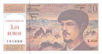 France 20 Francs Debussy euro value overprint - 1997 Serial X.058 - UNC