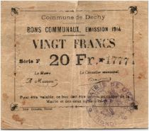 France 20 Francs Dechy Commune - 1914