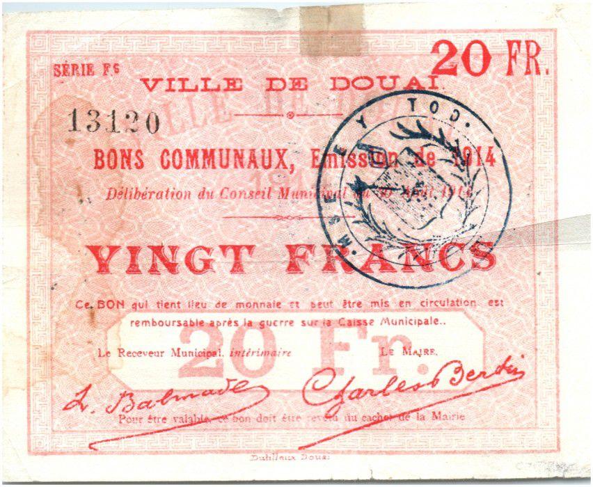 France 20 Francs Douai City - 1914