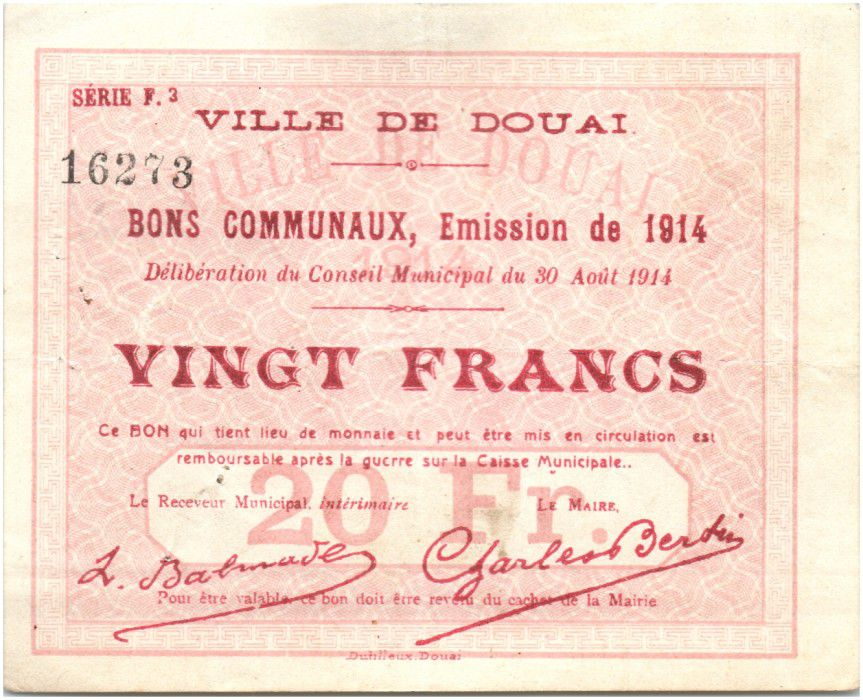 France 20 Francs Douai Commune - 1914