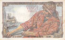 France 20 Francs Fisherman - 07-10-1943 Serial A.91 - F+