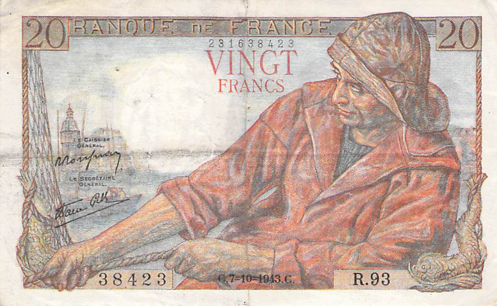 France 20 Francs Fisherman - 07-10-1943 Serial R.93 - F+