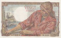 France 20 Francs Fisherman - 10-02-1944 Serial V.113