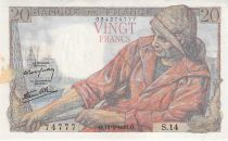 France 20 Francs Fisherman - 12-02-1942 Serial S.14 - F to VF