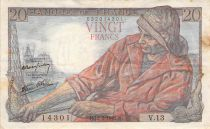 France 20 Francs Fisherman - 12-02-1942 Serial V.13 - F+