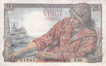 France 20 Francs Fisherman - 24-09-1942 Serial P.36 - F+