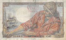 France 20 Francs Fisherman - 28-01-1943 Serial C.67 - F to VF