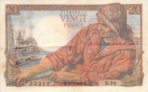 France 20 Francs Fisherman - 28-01-1943 Serial D.70 - VF+