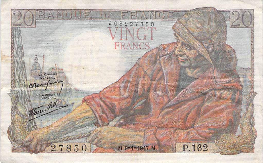 France 20 Francs Fisherman - Various Years 1978-1995 - VF