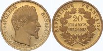 France 20 Francs Louis Napoleon Bonaparte - 1852-1993 - Gold - XF to AU - Proof