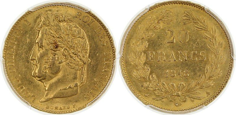France 20 Francs Louis Philippe I - Laureate head 1848 A