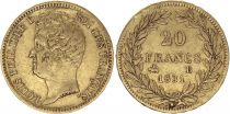 France 20 Francs Louis-Philippe I 1831 B Rouen - Gold - Raised