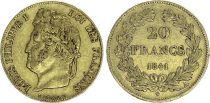 France 20 Francs Louis Philippe Ier TL 1841 A - Or