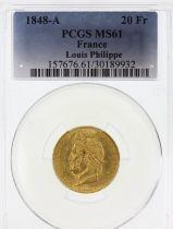 France 20 Francs Louis Philippe Ier TL 1848 A