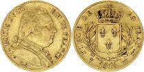 France 20 Francs Louis XVIII - 1814 W Lille - Gold