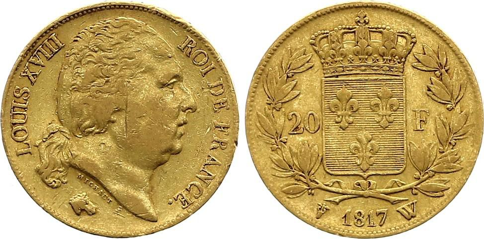 France 20 Francs Louis XVIII - 1817 W Lille Or