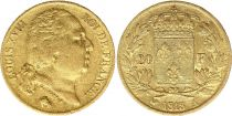 France 20 Francs Louis XVIII - 1818 A Paris Or