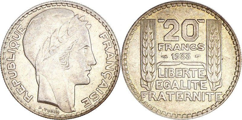 France 20 Francs Marian with laureate head -1933