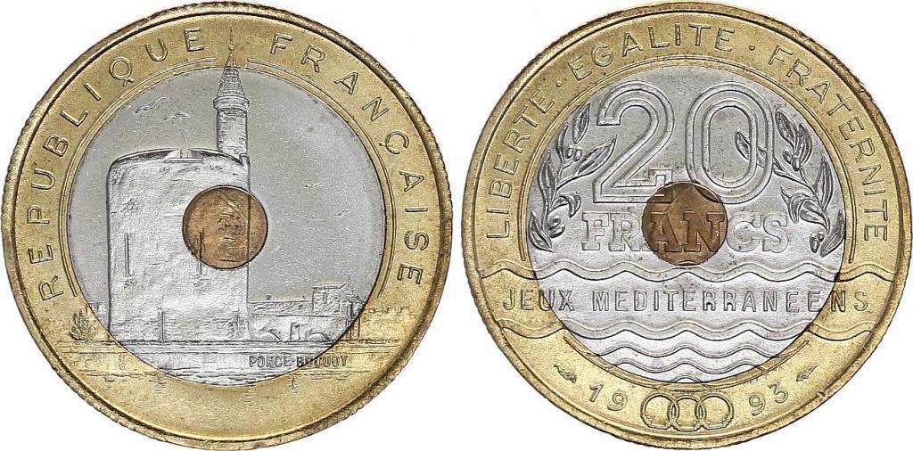 France 20 Francs Meditereans Games - 1993 - BIMETAL XF + - KM.1016