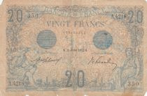 France 20 Francs Mercury and woman seated - 11-02-1913 - Serial A.4218 - G