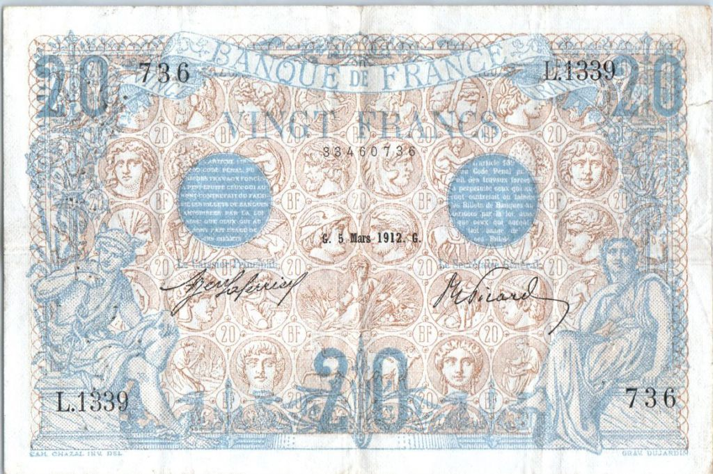 France 20 Francs Mercury and woman seated - 1912 - L.1339