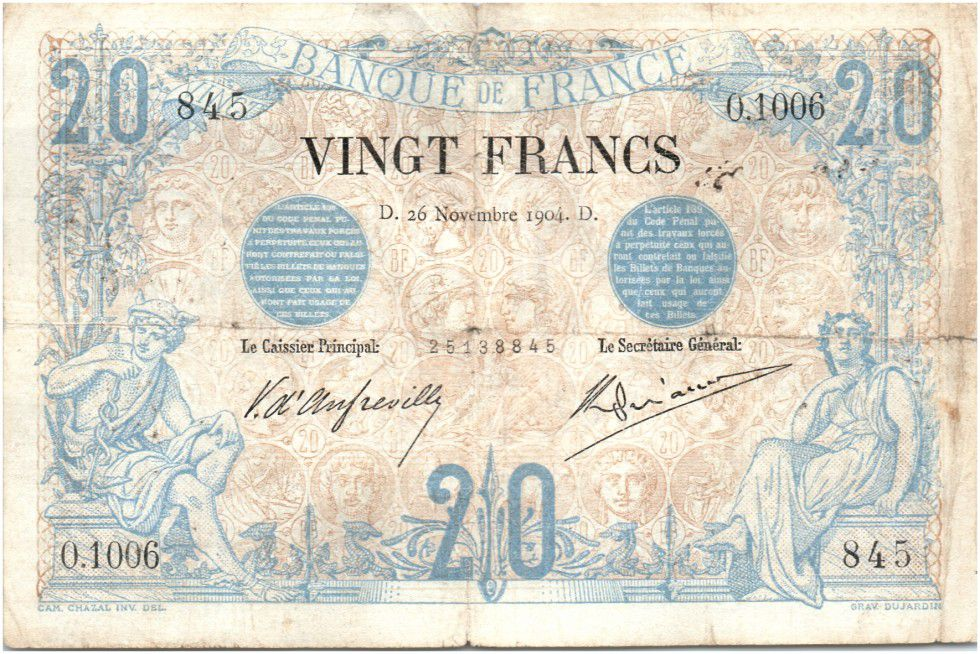 France 20 Francs Mercury and woman seated - 26-11-1904
