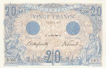 France 20 Francs Mercury and woman seated- 14-04-1906 Serial D.356