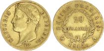 France 20 Francs Napoleon I  1813 A - Gold - aVF - Type Empire - 2 ex