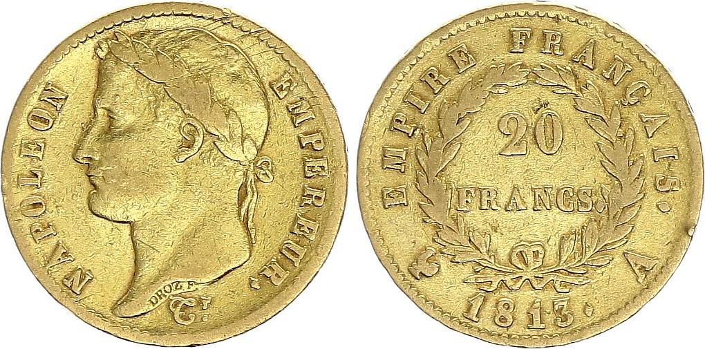 France 20 Francs Napoleon I  1813 A - Gold - aVF - Type Empire