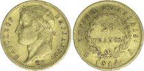 France 20 Francs Napoleon I  1814 A - Gold - aVF - Type Empire