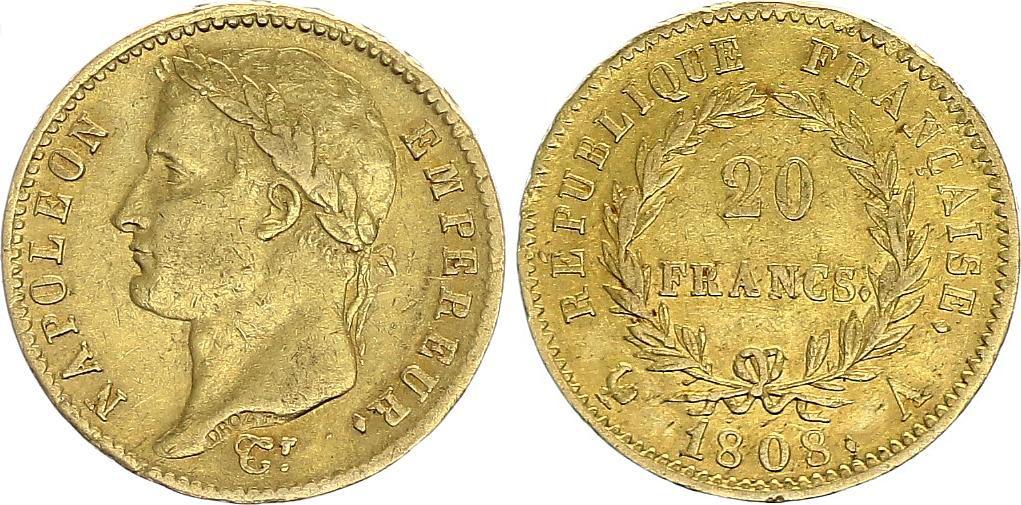 France 20 Francs Napoléon I 1808 A Paris Or - p.TTB Type République