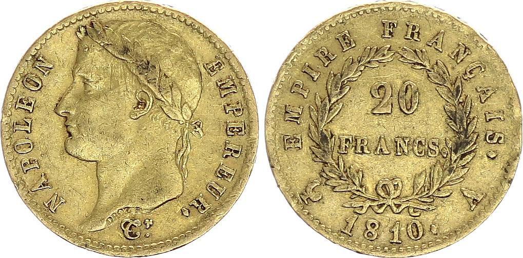 France 20 Francs Napoléon I 1810 A Paris Or - p.TTB Type Empire