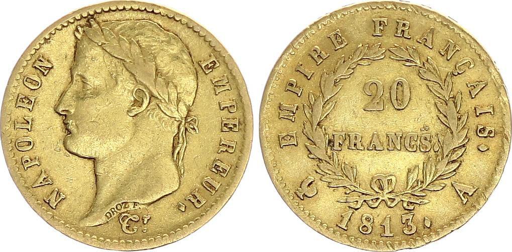 France 20 Francs Napoléon I 1813 A Paris Or - p.TTB Type Empire - 2 ex