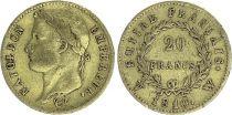 France 20 Francs Napoleon I Empereur - 1810 W Lille - Gold