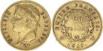 France 20 Francs Napoléon I Tête laurée - 1810W Lille - Or