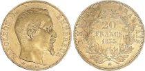 France 20 Francs Napoleon III - 1855 BB Strasbourg - Gold - VF