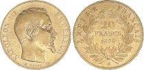 France 20 Francs Napoleon III - 1855 BB Strasbourg - Gold